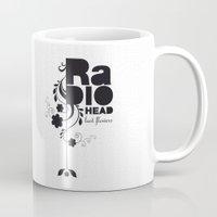 radiohead Mugs featuring Last flowers Song - Radiohead - black version by LilaVert