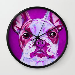 Frenchie in Pink Wall Clock