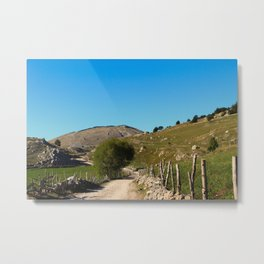 Mountain road that leads to the old Bosnian village Metal Print