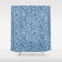 Japanese leaves and buds with stitching blue and white Shower Curtain