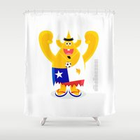 chile Shower Curtains featuring Feeling Chile Football freak World Cup 2014 by simon oxley idokungfoo.com