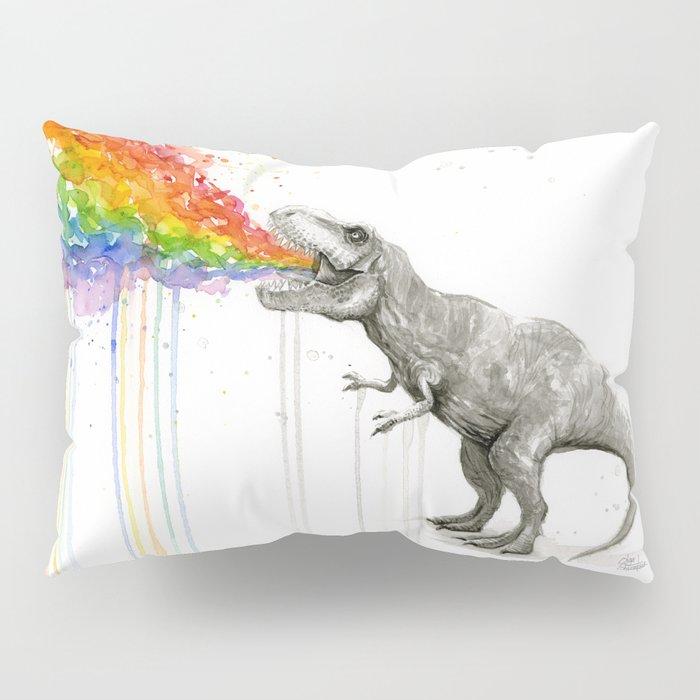 T-Rex Dinosaur Rainbow Puke Taste the Rainbow Watercolor Pillow Sham