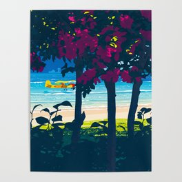 Red flower shade and beach Poster