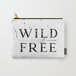 Wild and Free Silver on White Carry-All Pouch