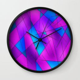 ABSTRACT LINES #1 (Purples, Violets, Fuchsias & Turquoises) Wall Clock