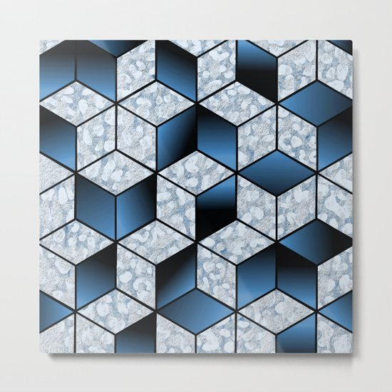 Abstract Blue Cubic Effect Design Metal Print