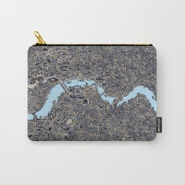 London color map city drawing illustration Thames Carry-All Pouch