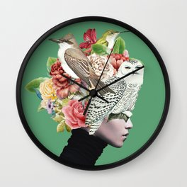 Lady with Birds(portrait) 2 Wall Clock