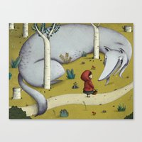 red riding hood Canvas Prints featuring Little red riding hood by Laura Wood