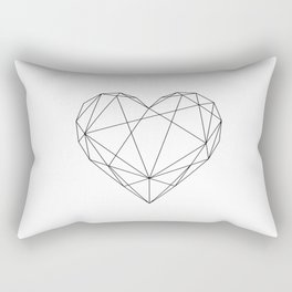 Geometric Heart Black Rectangular Pillow