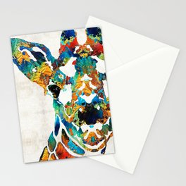 Colorful Giraffe Art - Curious - By Sharon Cummings Stationery Cards