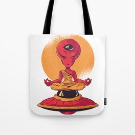 Alien Meditating Tote Bag