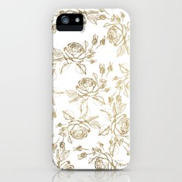 Vintage white faux gold roses floral iPhone Case