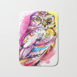 Neon Northern Pygmy Owl Bath Mat