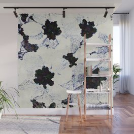 Black and White Floral with a Whisper of Color Wall Mural