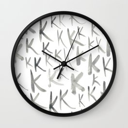 Watercolor K's - Grey Gray Wall Clock