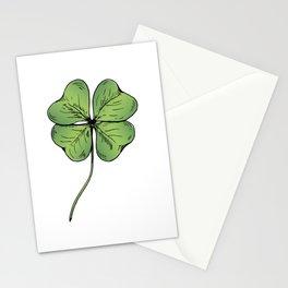 Four leaf clover leaf. Green hand drawn. Good luck! Stationery Cards
