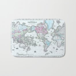 Vintage World Map 1855 Bath Mat