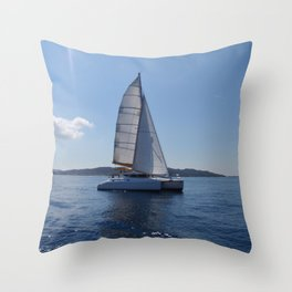 Catamaran In The Mediterranean Throw Pillow