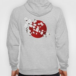 Red Black And White Cherry Blossoms Hoody