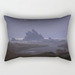 Caspar David Friedrich - Rocky Reef on the Seashore Rectangular Pillow