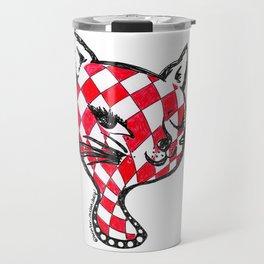 Winking Kitty Red & White Diamonds Travel Mug
