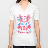 magical girl V-neck T-shirts featuring Magical Girl Sylveon by Anjila