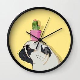 Pug Flower Pot Cactus Wall Clock