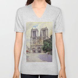 "Cass Gilbert ""Cathedral of Notre Dame, Paris"" (1933) Unisex V-Neck"