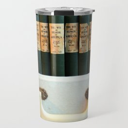 Aged Books in a Suitcase Travel Mug