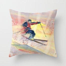 Colorful Skiing Art Throw Pillow