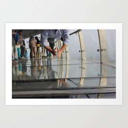 Not Afraid of the Glass Floor in Oriental Pearl Tower Art Print