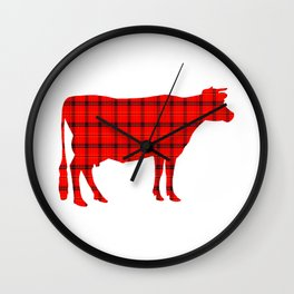 Cow: Red Plaid Wall Clock