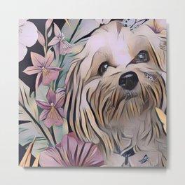Cute puppy art with butterflies Metal Print