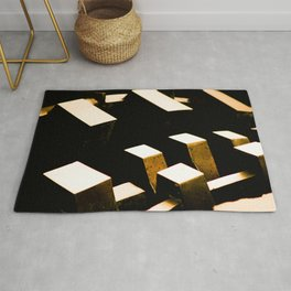 Rose Gold Bronze Abstract Geometric Mechanical Gears Rug