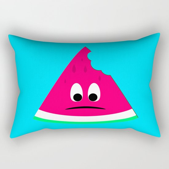 Cute sad bitten piece of watermelon Rectangular Pillow