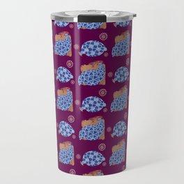 blue birds pattern on gold and purple Travel Mug