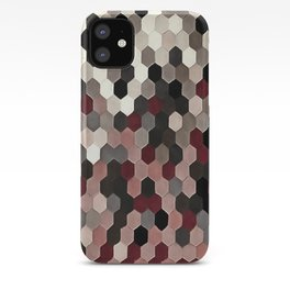 Hexagon Pattern In Gray and Burgundy Autumn Colors iPhone Case