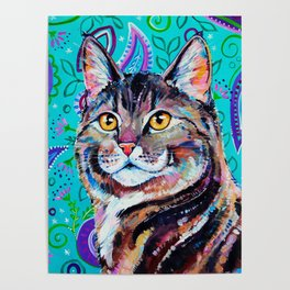 Tabby Cat on Paisley Poster