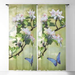 Butterflies and Apple Blossoms Blackout Curtain
