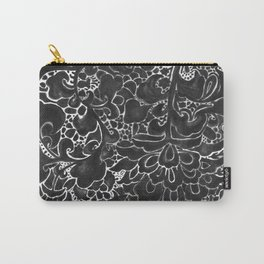 Watercolor Chinoiserie Block Floral Print in Black Ink Porcelain Tiles Carry-All Pouch