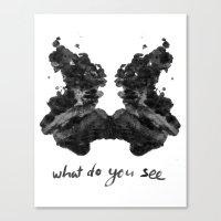 rorschach Canvas Prints featuring Rorschach by greta skagerlind