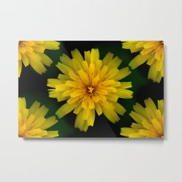 Yellow Natural Flowers On Black Background #decor #society6 Metal Print
