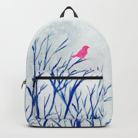 Perching bird on winter tree Backpack