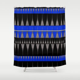Chrysler Building Pattern in Blue and Black Shower Curtain