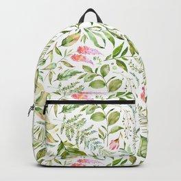Botanicals Pink Flowers Crystals Pattern Backpack