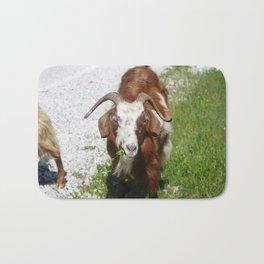 Whimsical Portrait of a Horned Goat Grazing Bath Mat