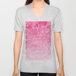 Modern girly floral pattern pink ombre watercolor pattern Unisex V-Neck
