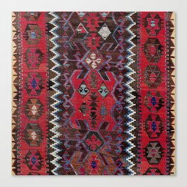 Obruk Konya Turkish  Antique Kilim Rug Canvas Print
