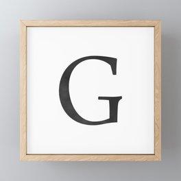 Letter G Initial Monogram Black and White Framed Mini Art Print